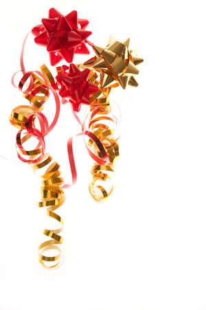 party decoration - red and golden bows with ribbon photo