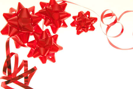 party decoration - red  bows with ribbon photo