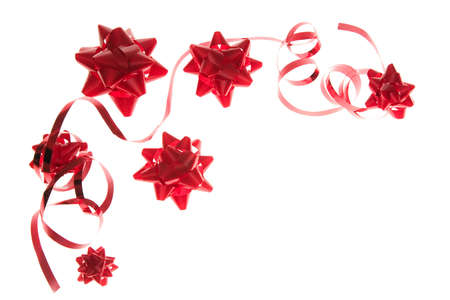 party decoration - red  bows with ribbon Stock Photo - 1815388