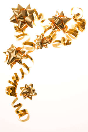 party decoration - golden bows with ribbon photo