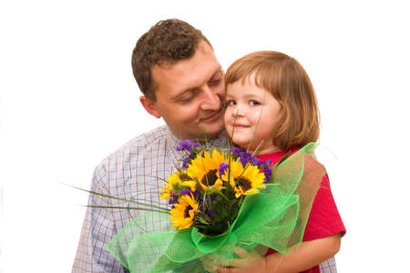 womens day: girl and father with big bunch of sunflowers