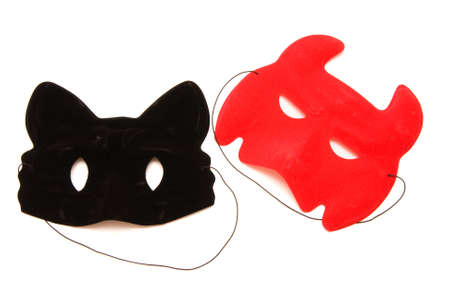 carnival masks, black and red, isolated on white photo