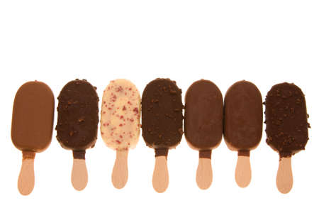 composition of chocolate ice cream sticks isolated on white Stock Photo - 2011270