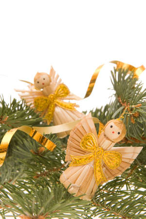 angel tree: traditional Christmas decoration on spruce, with copy space  Stock Photo