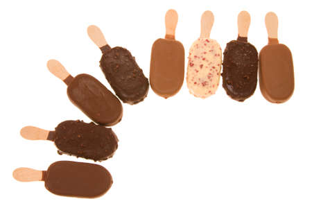 composition of chocolate ice cream sticks isolated on white Stock Photo - 2069176