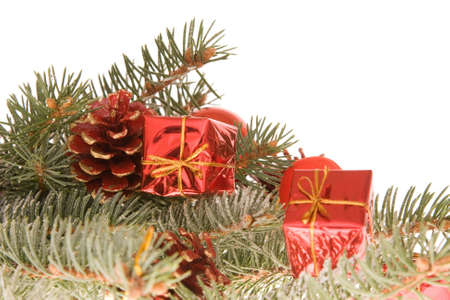 Christmas decoration made of little gifts and conifer, isolated on white Stock Photo - 2095656