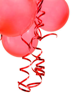 red party balloons decorated with ribbons isolated on white Stock Photo - 2152035