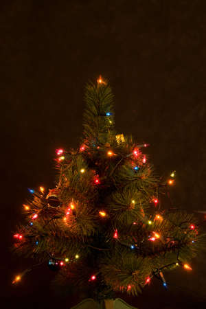 decorated Christmas tree at night on dark background photo