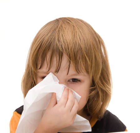 little coughing girl with tissue isolated on white