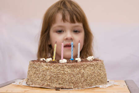 little cute girl celebrating her fourth birthday Stock Photo - 2587403