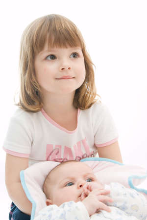 happy little girl hugging her tiny brother Stock Photo - 2839816