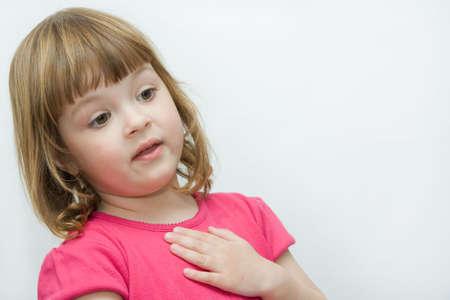 express feelings: expressive little girl telling interesting story