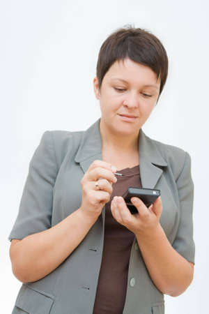 palmtop: young professional woman with palmtop, on white