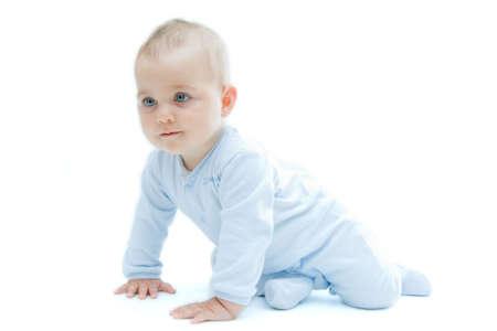 crawling baby: crawling baby boy on bright background