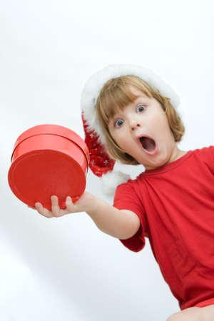 Christmas kid in Santa hat on white background Stock Photo - 3754535
