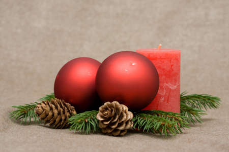Christmas decoration made of conifer and candles Stock Photo - 3772487