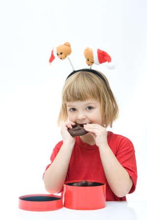 little girl wearing funny Christmas headband photo