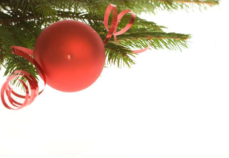 red Christmas bauble and ribbon on white background Stock Photo - 3814436