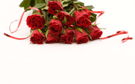 bunch of red roses with ribbon, on white photo