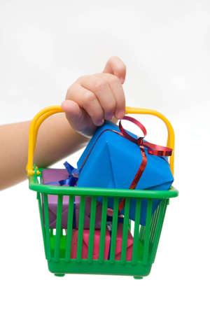 green shopping basket full of Christmas gifts Stock Photo - 3866025