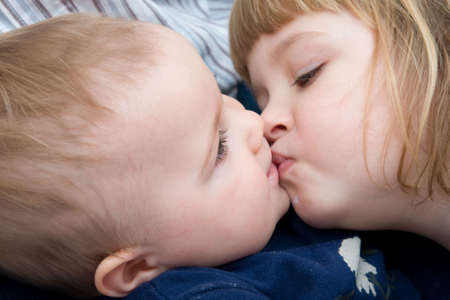 little baby boy and his sister, together Stock Photo - 3916279