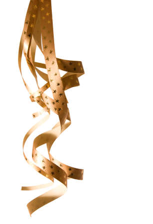 spiral, golden ribbons isolated on white, copy space photo