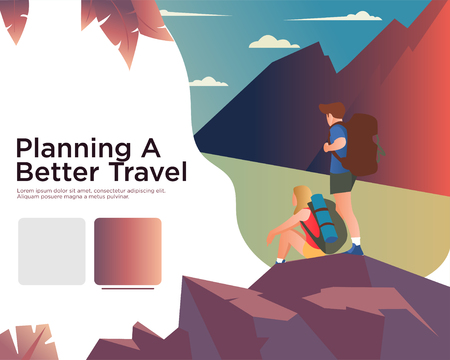 Website Design Template For Travel Illustration