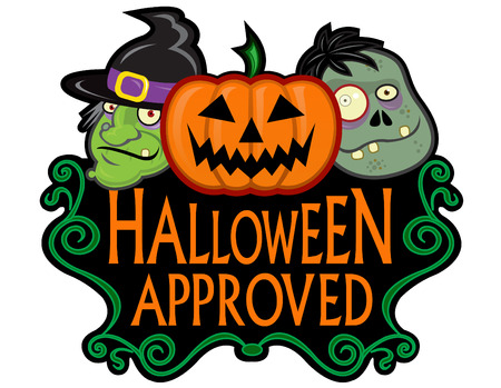 Halloween Approved Seal Illustration