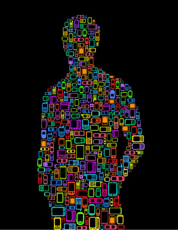 Silhouette of man made with Cellphones and Smartphones in black background  Vector