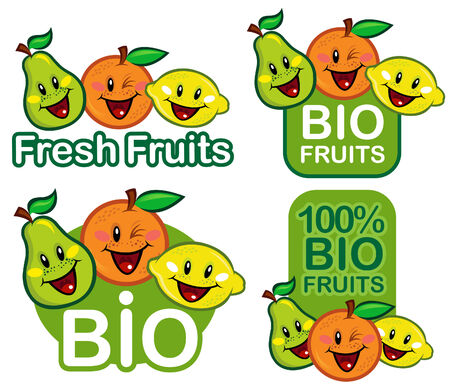 citric: Bio Fruits Seal  Mark  Emblem  Illustration