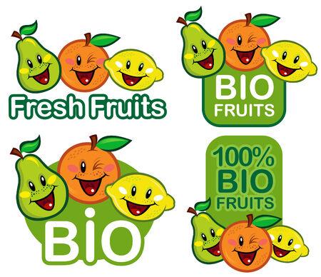 leave: Bio Fruits Seal  Mark  Emblem  Illustration