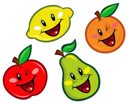 manzana caricatura: Feliz caracteres de frutas