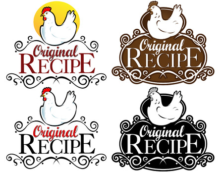 chicken dish: Original Recipe Seal  Mark  Icon. Hen Version  Illustration