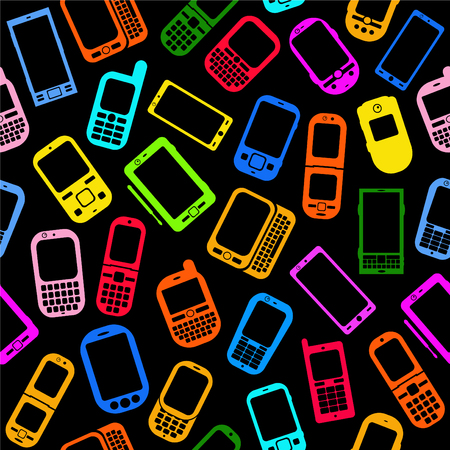 smartphone apps: Seamless Pattern made with Mobile Devices on Black Background