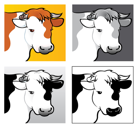 bovine: 4 variations of Beef Head Illustration in vectors
