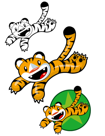child tongue: Funny Tiger Jumping and Smiling  Illustration