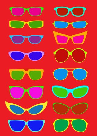 looking through an object: Sunglasses Collection in Summer Colors  Illustration