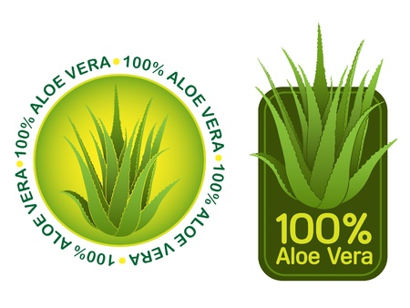 aloe vera plant: 100% Aloe Vera Seals in vector Illustration