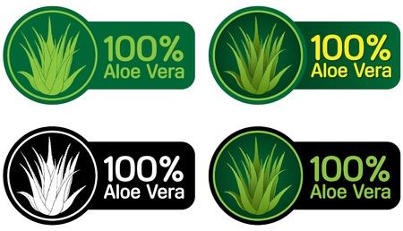 100% Aloe Vera sellos, adhesivos