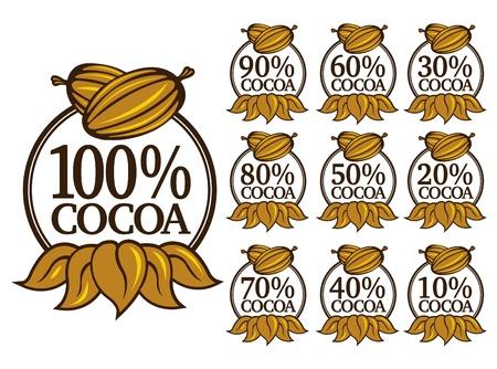 Percent Cocoa Seal  Mark  Icon. English Version  Vector
