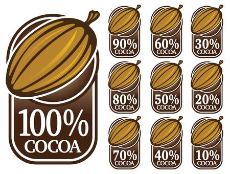 cacao: Sello de calidad cacao  marca  icono  Vectores