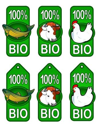 fish farm: Bio Labels  Fish, Beef, Chicken