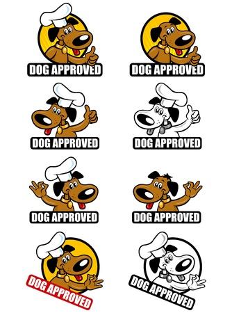Colecci�n de sellos con el tema perro aprobado. Vectores
