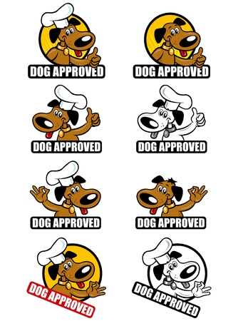 approved: Collection of seals with the theme Dog Approved. Illustration
