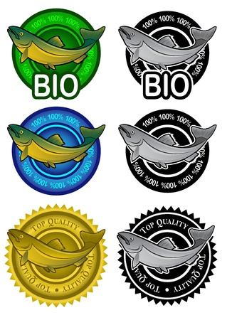 Fish Products Seals Stock Vector - 9674575