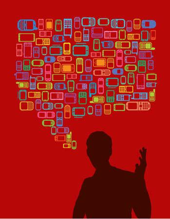 hablando de hombre en silueta con tel�fonos m�viles y smartphones burbuja de di�logo  Vectores