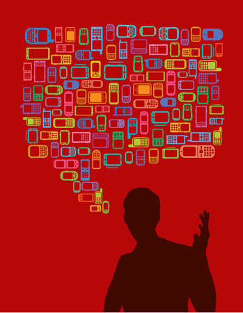 shear: talking man in silhouette with cellphones and smartphones dialog bubble
