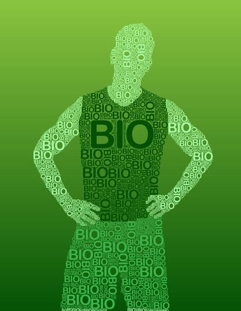 man made: Silhouette of a man made with typography with the word BIO in vectors