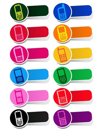 Vector Cellphone Icons / Labels in colors  Stock Vector - 9674520