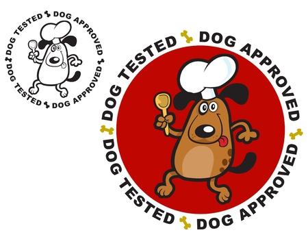 Perro probados y aprobados certificar sello  Vectores